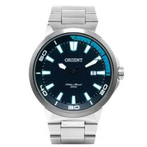 Relógio ORIENT MBSS1196A PASX Prata - Mostrador PRETO com Detalhes Azul e Calendário