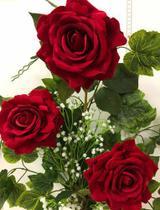 Rosa Vermelha Veludo Arranjo Com Vaso