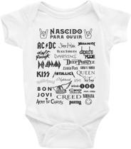 Roupa Body Bebê Infantil Nascido Para Ouvir Rock - TAMANHO P