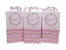 Sacola cor de rosa para lembrancinha de maternidade