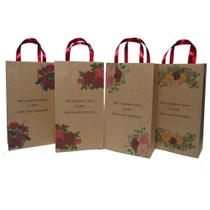 Sacola kraft floral vermelha marsala - 10 unidades