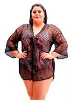 Saída De Praia Camisetão Kimono Tricot Plus Size Novidade