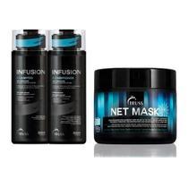 Shampoo 300ML + Condicionador 300ML Triss Infusion +  Máscara Net Mask 550G