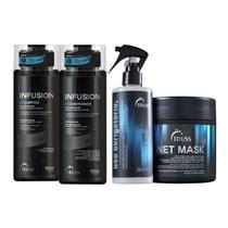 Shampoo 300Ml + Condicionador 300Ml Truss Infusion + Uso Obrigatório 260Ml + Máscara Net Mask 550G