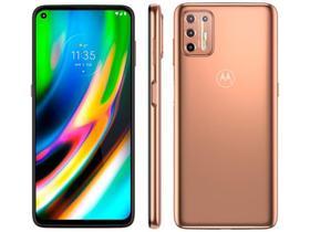 "Smartphone Motorola Mot G9 Plus 128GB Ouro Rosê - Octa-Core 4GB RAM 6,8"" Câm. Quádrupla + Selfie 8MP"