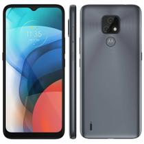 "Smartphone Motorola Moto E7 64GB 4G Tela 6.5"" Câmera Dupla 48MP 2MP Frontal 5MP Cinza Metálico"