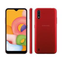 """Smartphone Samsung Galaxy A01 32GB 2GB RAM Câmera Dupla 13MP Tela 5.7"""" - Vermelho"""