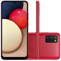 """Smartphone Samsung Galaxy A02s Câmera Tripla de Tela Infinita de 6.5"""" 32GB 3GB RAM Vermelho"""