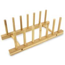Suporte Escorredor Display Porta 6 Pratos Bambu Cozinha