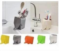Suporte Escova de Dente Porta Talheres Com Escorredor Elefante Vaso Planta