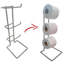suporte porta papel higiênico cromado de chão para 3 rolos - Design Moderno