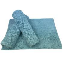 Tapete de Banheiro Luxuoso Super Macio Antiderrapante Bolinha Microfibra 60x40 Azul Claro