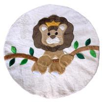 Tapete Pelúcia Leãozinho 90cm x 90cm Redondo Decorativo Quarto Infantil Base Emborrachado - Palha