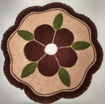 Tapete redondo flor Marrom