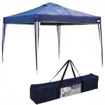 Tenda Gazebo Dobravel Articulada X-flex 3x3 M Base e Topo Azul Mor