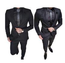 Terno Executivo Slim Corte Italiano De Luxo (calça E Blazer) Nº 50 GG Preto - Shopping do Terno