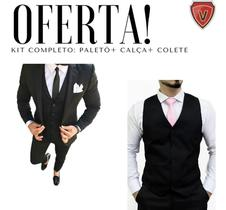 Terno Slim Masculino Preto Oxford Completo Blazer+ Calça+ Colete