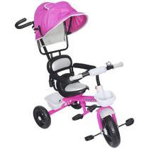 Triciclo Infantil com Capota Rosa Importway