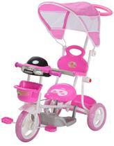 Triciclo Motoca Infantil Passeio com Empurrador Pedal Luz Som Capota Importway BW003 Rosa