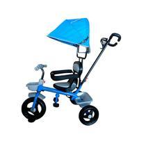 Triciclo Velotrol Infantil com Capota e Haste para Empurrar Azul Importway Bw084az