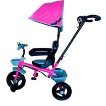 Triciclo Velotrol Infantil com Capota e Haste para Empurrar Rosa Importway Bw084rs