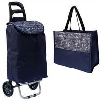Trolley bag - carrinho de feira 'AZUL ABSTRATO' + sacola de mão - ADM