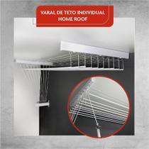 Varal De Teto Individual 10 Varetas Alumínio Branco 50 Cm - HOME VARAIS