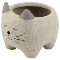 Vaso Cachepot cerâmica gato 8,3 x 8 x 7 cm