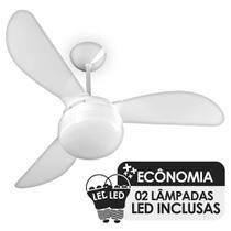 Ventilador de Teto Ventisol Fenix Branco 3 Pás, Cv3, 02 Lâmpadas Led Inclusas