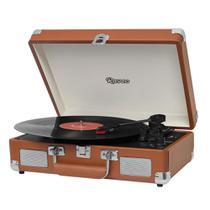 Vitrola Raveo Sonetto Chrome Brown Toca Discos Bluetooth USB que reproduz e grava Bivolt