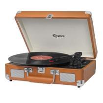 Vitrola Raveo Sonetto Chrome Caramelo Toca Discos Bluetooth USB que reproduz e grava Bivolt