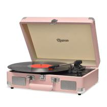 Vitrola Raveo Sonetto Chrome Coral Toca Discos Bluetooth USB que reproduz e grava Bivolt