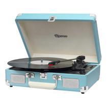 Vitrola Raveo Sonetto Chrome Light Blue Toca Discos Bluetooth USB que reproduz e grava Bivolt