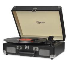 Vitrola Raveo Sonetto Chrome Preta Toca Disco Bluetooth Gravação USB