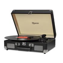 Vitrola Raveo Sonetto Chrome Preto Toca Discos Bluetooth USB que reproduz e grava Bivolt