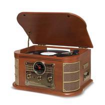 Vitrola Raveo Spazio - Toca discos, Rádio FM, CD, USB, SD Card, K7, Bluetooth