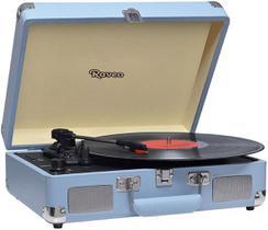 Vitrola Toca Discos Vinil Bluetooth Usb Auxiliar Reproduz E Grava Em Mp3 Azul Bivolt Sonetto Chrome Retrô 10 Watts Raveo