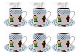 Xícara De Café Conjunto Kit 12 Peças Porcelana