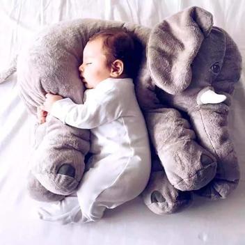 Almofada Travesseiro Elefante Pelúcia Bebê Dormir Cinza 60cm - Shiny love