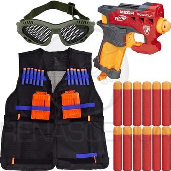 Arma Brinquedo Nerf Big Shock + Colete Infantil + 18 Dardos Mega