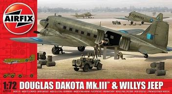 Aviao Douglas C-47 Dakota Mk.III e Willys Jeep - AIRFIX - Brand