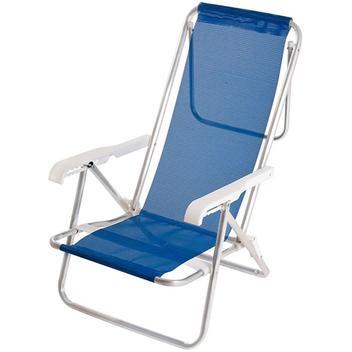 Cadeira de Praia Mor Sannet em Alumínio e Poliéster Reclinável 8 Posições Azul