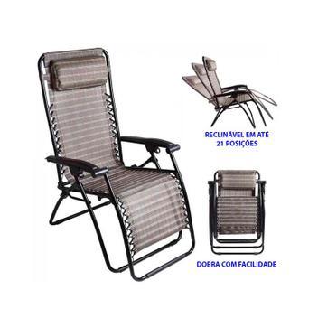 Cadeira Espreguiçadeira Sevilha Reclinável, 21 Posições, Piscina, Praia, Jardins, Camping -Mor -Bege