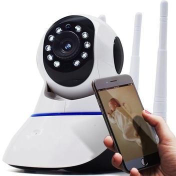 Câmera Segurança Ip Hd 720p Sem Fio Wifi P2 Áudio Cartão Sd - Ípega