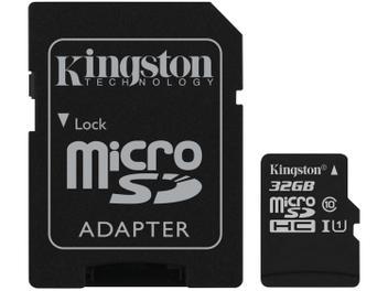 Cartão de Memória 32GB Micro SD Kingston Classe 10 - com Adaptador Canvas Select