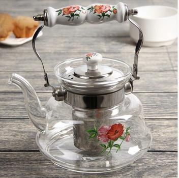 Chaleira com infusor de chá 1litro vidro inox bule chá detox - Asia
