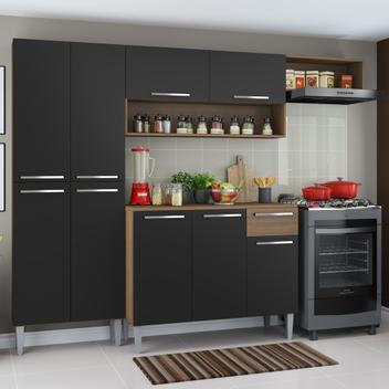 Cozinha Completa Compacta Madesa Emilly com Armário e Balcão Rustic/Preto