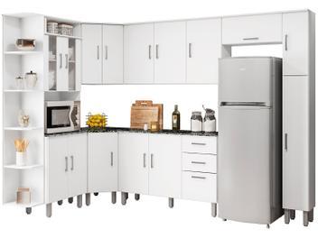 Cozinha Completa Poliman Suiça com Balcão - Nicho para Forno ou Micro-ondas 16 Portas