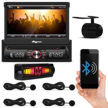 DVD Player Quatro Rodas MTC6617 Bluetooth USB SD AUX + Câmera de Ré + Sensor de Estacionamento Preto - Prime