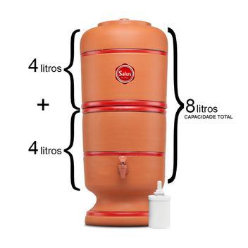 Filtro De Barro P/ Água 4 Litros - 1 Vela Salus